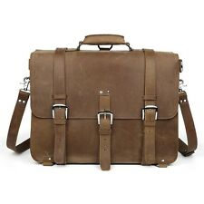 "Men's Large Leather Laptop Bag 17"" Messenger Shoulder Bag Saddle Backpack Travel"