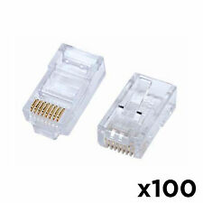 100pc RJ45 8P8C CAT6 Modular plug ethernet gold plated network connector