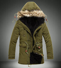 Mens Winter Hooded Coat Parka Fleece Lined Jecket Thick Outerwear Long Tops Warm