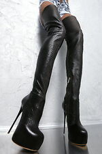 1969 ITALY LEDER Hohe Overknee Stiefel Stretch Boots FQ9 Leather High Heels