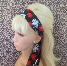 BLACK SKULL CHAIN ROSE HEAD SCARF HAIR BAND SELF TIE BOW 50s ROCKABILLY GOTHIC