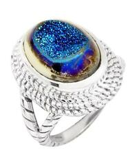 Blue Titanium Druzy Quartz Ring Solid 925 Silver Jewelry Size 7.75 IR34875