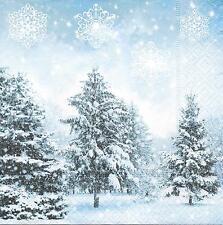 3 Servietten Napkins Weihnachten Winterlandschaft mit Tannenwald Schnee #267