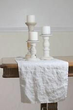 100% Stone Washed Flax Linen Table Runner in White