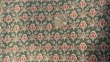 """Vintage Cotton Fabric RUST & GRAY FLORAL ON GREEN 1 Yd/45"""""""