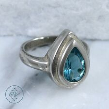 Silver Plated | Bezel-Set Blue-Green Rhinestone Teardrop | Ring (5.75)