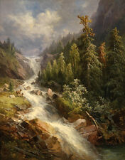 Beautiful art Oil painting creek landscape with mountains on canvas