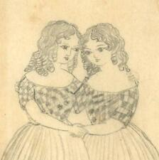 19th Century Pencil Drawing of Twin Girls From Victorian Scrap Album