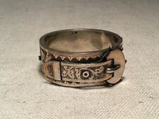 Victorian Antique English Silver Plated Ornate Buckle Bangle Bracelet
