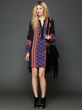 NWOT FREE PEOPLE PEACEMAKER PRINTED ANTHROPOLOGIE LOW HIGH BOHO KAFTAN DRESS L