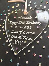 Personalised 21st Birthday Heart Gift Keepsake - embellished