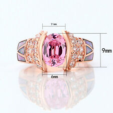Rose Gold Filled Opal Pink Sapphire Ring Women's Wedding Band Jewelry Size 6-9