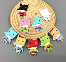 20pcs Mix color fox shape Wooden buttons Fit sewing scrapbooking Craft 30mm