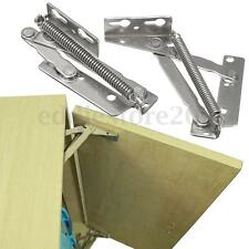 2x 80° Sprung Hinges Cabinet Door Lift Up Stay Flap Top Support Cupboard Kitchen