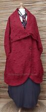LAGENLOOK*KEKOO*AMAZING BEAUTIFUL QUIRKY 2 POCKETS LONG COAT*DEEP RED*SIZE XXL