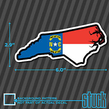 "North Carolina State Flag Map - 6.0""x2.9"" - printed vinyl decal sticker NC USA"
