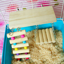 Set of 3pcs Mouse Parrot Bird Hamster Wooden Ladder Swing Bridge Shelf Cage Toys