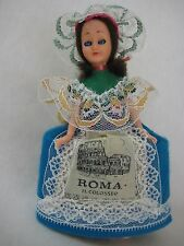 "Vintage Roma Il Colosseo Cloth Doll With Blue Sleep Eyes, 6 1/2"" Tall"