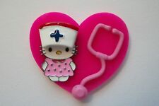 NURSE HELLO KITTY CAT RN NURSE MEDICAL EMT VETERINARIAN LPN STAFF REEL BADGE