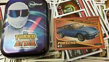 Topps Top Gear Turbo Attax 20 mix cards tin and bronze porsche 911