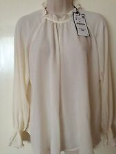 Zara Off-White Flowing Voluminous Blouse Top Shirt Size S, Uk8-10