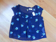 NWT Hollister Costa Mesa Top  Navy with Blue Floral Large By Abercrombie