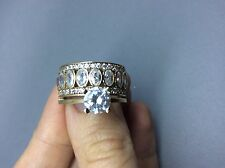 Handmade Ottoman Turkish Arabic 925silver topaz high quality wedding ring size 8