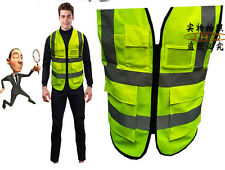New Multicolor Safety Vest With Zipper Bordered Reflective Tape Strips 5 Pockets
