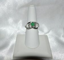 GLAMOROUS 3/4ct NATURAL ZAMBIAN EMERALD .925 STERLING SILVER 7 COCKTAIL RING