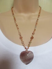 Lola Rose Beige Brown Multi Semi Precious Stones Bead Heart Necklace & Pouch
