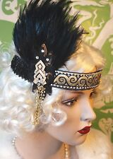 Chapeau Jules Vintage 20's Flapper Feather Headband GOLD BLACK Gatsby SWAROVSKI