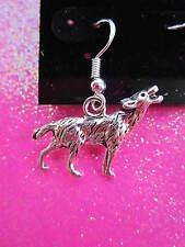 925 Sterling Silver Wolf Dangle Earrings