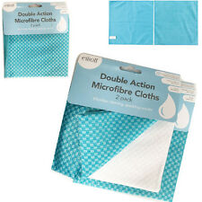 2 Microfibre Cloths Car Vehicle Home Kitchen Wipes Fine Cleaning Polishing Cloth