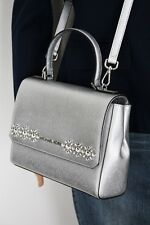 MICHAEL KORS CALLIE Leather bag Saffiano leather MD TH Satchel silver