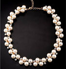Jewelry Fashion Pendant Crystal Chain Chunky Statement Pearl Bib Necklace