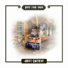 Just For You Train Station Platform Suitcases Design Male  Happy Birthday Card