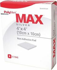 """Two Ferris Polymem MAX SILVER 4""""x4"""" non-adhesive Wound Care Dressing Ref 1045"""