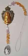 KUAN YIN HANGING GLASS CRYSTAL PRISM & CHIP 420mm SUN CATCHER Wicca Witch Pagan
