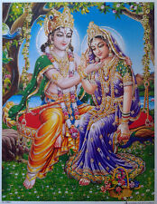 "Lord Shri Krishna with Radha - Lovely POSTER (Glitter Effect) 9""x11"""