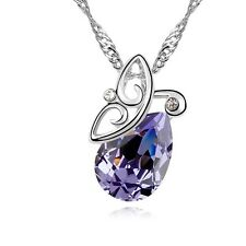 18K White Gold GP Swarovski Crystal Elegant Butterfly Waterdrop Purple Necklace