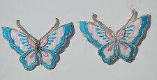 2x BUTTERFLY BLUE  & PEARL  (FAULT)Embroidered Iron Sew On Cloth Patch APPLIQUE