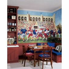 XL FOOTBALL PREPASTED WALL MURAL Boys Bedroom Wallpaper Athletic Room Decor