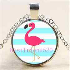 Pink Flamingo Photo Cabochon Glass Tibet Silver Chain Pendant Necklace