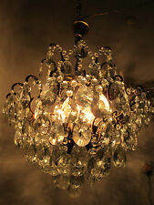 Antique Vnt French Big Spider Style Crystal Chandelier Lamp 1940s 20in diametr--