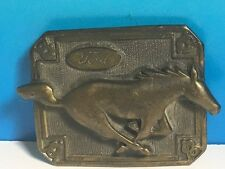 VINTAGE FORD MUSTANG RAISED SOLID BRASS BELT BUCKLE STALLION HORSE AUTOMOBILIA