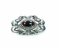 GEORG JENSEN, DENMARK, 925 STERLING SILVER GARNET FLOWER BROOCH, PIN