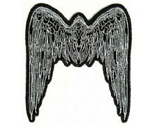 "(L16) Large SILVER ANGEL WINGS 8"" x 9"" sew / iron on back patch (2610) Biker"