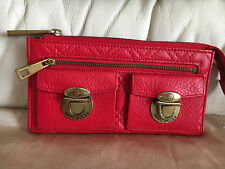 Marc Jacobs calf real leather red quilted large wallet purse