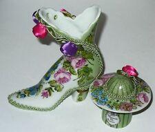 LIMOGES BOX - PARIS FLORAL HAT & SHOE - TWO BOX SET - FLOWERS & BRAID & ROSETTES