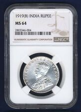 INDIA BRITISH  GEORGE V 1919-(B) 1 RUPEE SILVER COIN, CERTIFIED NGC MS64